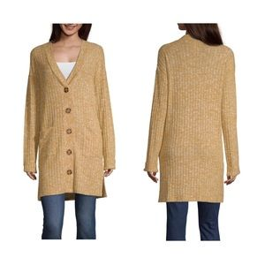 New Womens V Neck Cardigan Gold